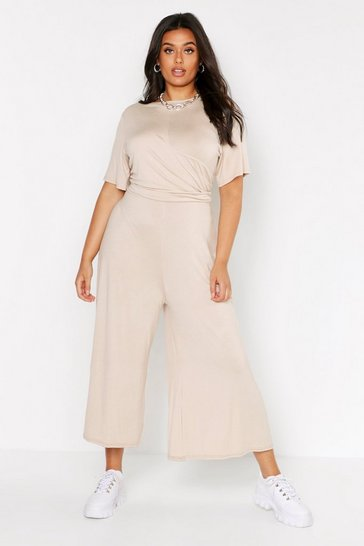 Stone Plus Twist Detail Cap Sleeve Culotte Jumpsuit