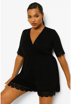 Plus Crochet Trim Wrap Over Playsuit, Black