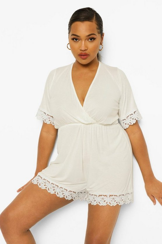 Plus Crochet Trim Wrap Over Playsuit, White, Donna