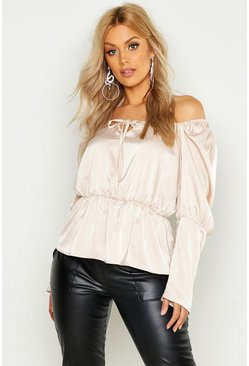 Womens Blush Plus Square Neck Peasant Peplum Top