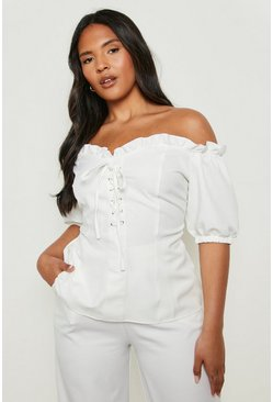 White Plus Lace Up Sweetheart Neckline Off Shoulder Top