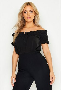 Plus Off Shoulder Ruffle Bardot Top, Black, Donna