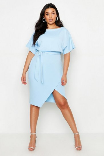 Womens Baby blue Plus Double Layer Midi Dress