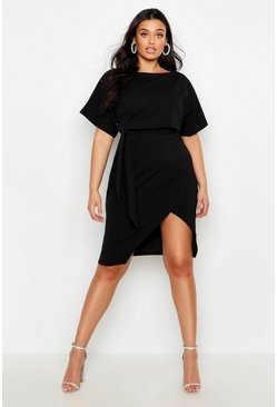Plus Double Layer Midi Dress, Black, Donna