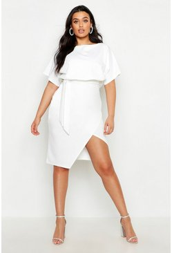 Womens White Plus Double Layer Midi Dress