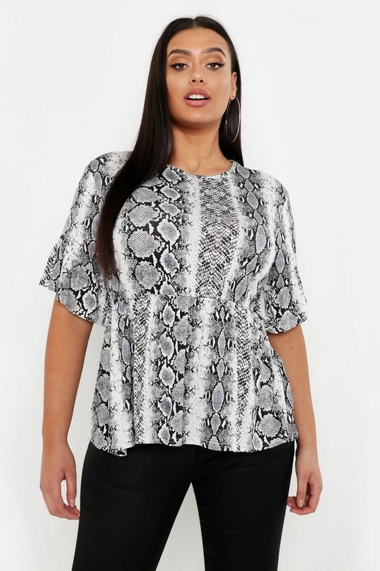 Womens Ivory Plus Snake Print Ruffle Sleeve Smock Top