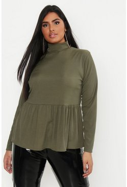 Womens Khaki Plus Rib Turtle Neck Smock Top