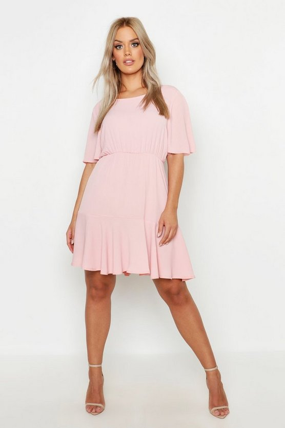 Womens Blush Plus Tiered Crepe Smock Dress