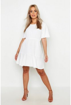 Plus Tiered Crepe Smock Dress, White