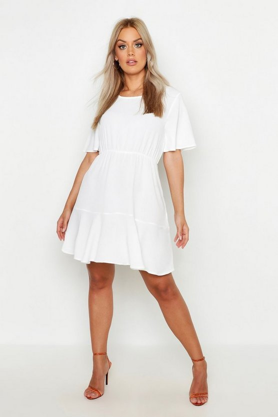 Womens White Plus Tiered Crepe Smock Dress