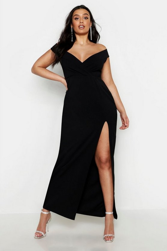 Womens Black Plus Off Shoulder Maxi Dress