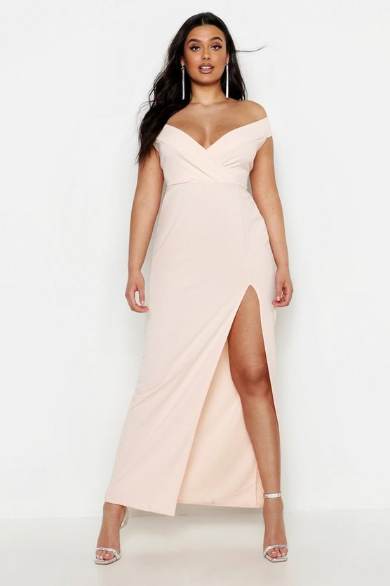 Womens Blush Plus Off Shoulder Maxi Dress