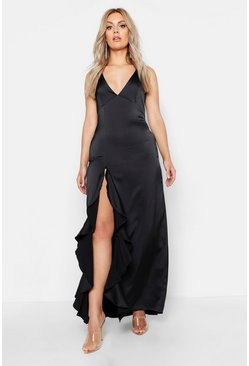 Womens Black Plus Ruffle Side Maxi Dress