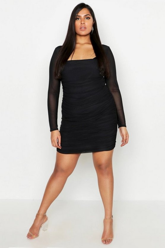 Black Plus Square Neck Ruched Mesh Bodycon Dress