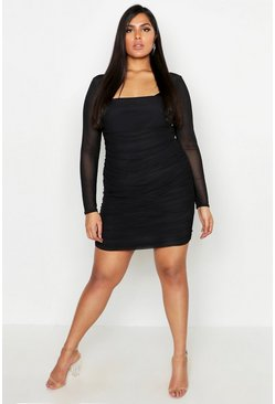 Womens Black Plus Square Neck Ruched Mesh Bodycon Dress