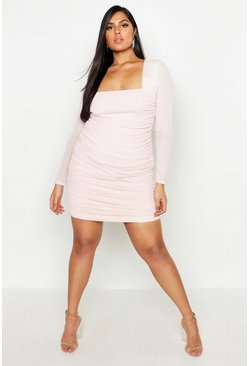 Womens Nude Plus Square Neck Ruched Mesh Bodycon Dress