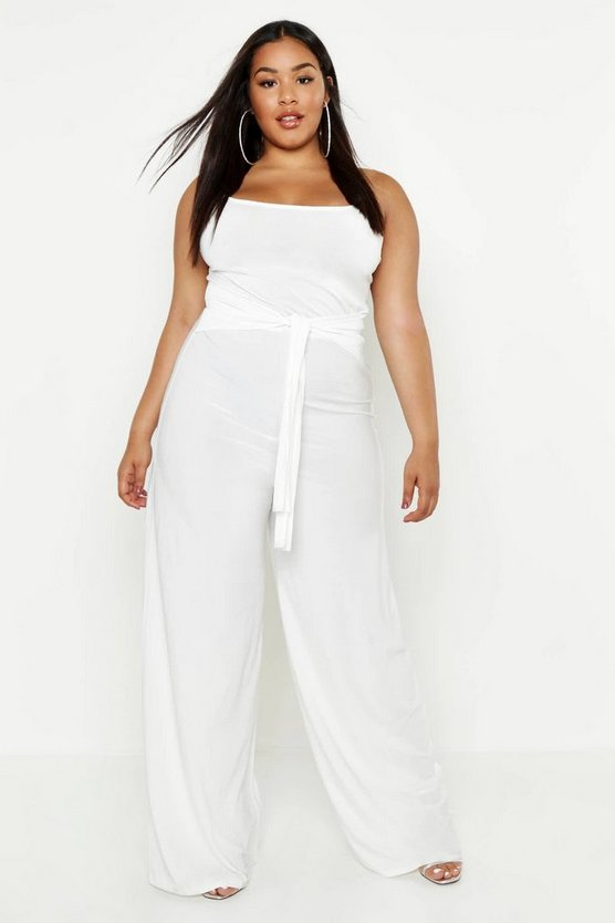Womens Ivory Plus Tie Front Strappy Wide Leg Slinky Jumpsuit