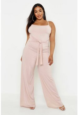 Womens Stone Plus Tie Front Strappy Wide Leg Slinky Jumpsuit