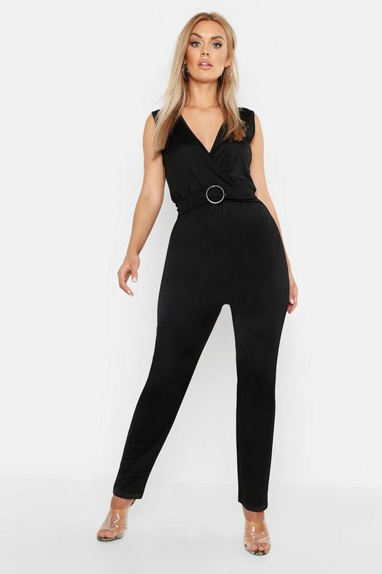 Plu Plunge Belted Tailored Jumpsuit, Black, Donna