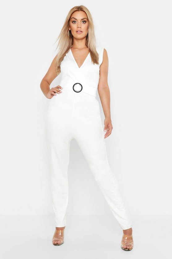 Womens White Plu Plunge Belted Tailored Jumpsuit