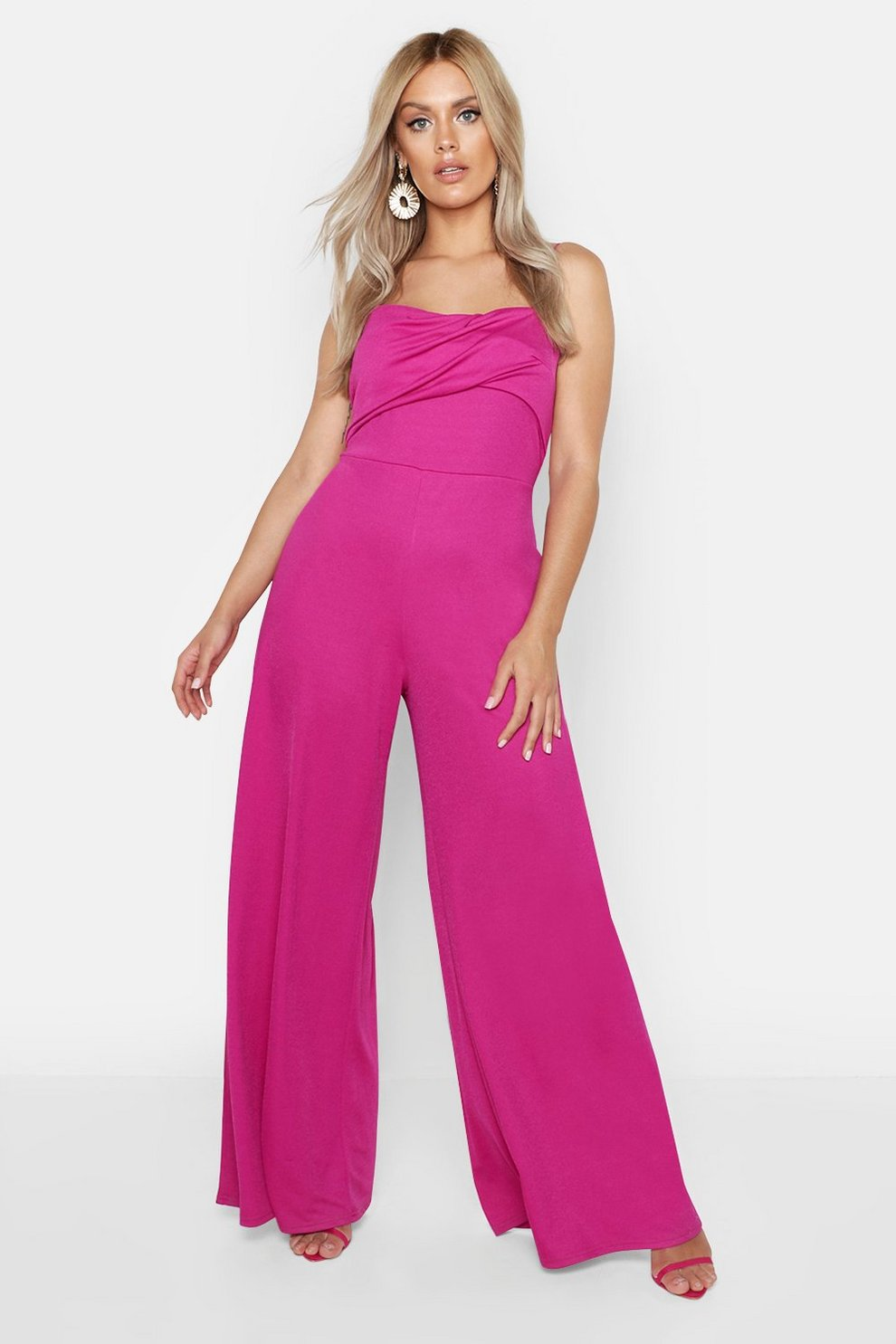 5fc62cc6cf79 Womens Pink Plus Twist Detail Wide Leg Jumpsuit