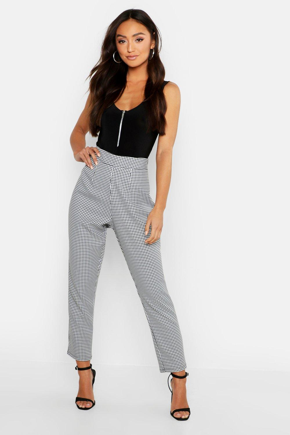 Petite Dogtooth Check High Waist Tapered Trouser