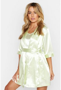 Womens Sage Petite Satin Short Sleeve Robe