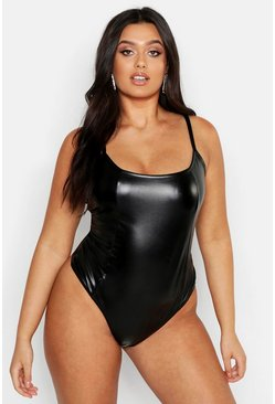Womens Black Plus Leather Look Seamed Strappy Bodysuit