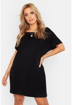 Womens Black Plus Oversized Roll Sleeve T-Shirt Dress