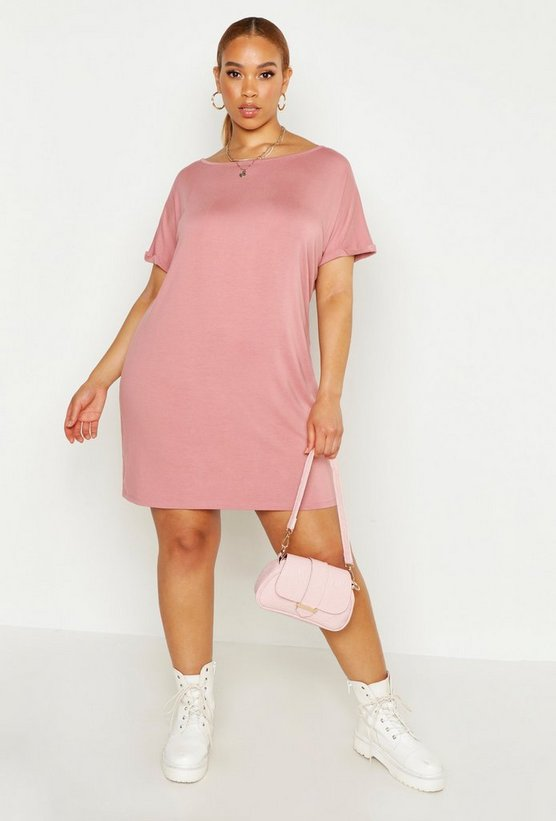 Womens Rose Plus Oversized Roll Sleeve T-Shirt Dress