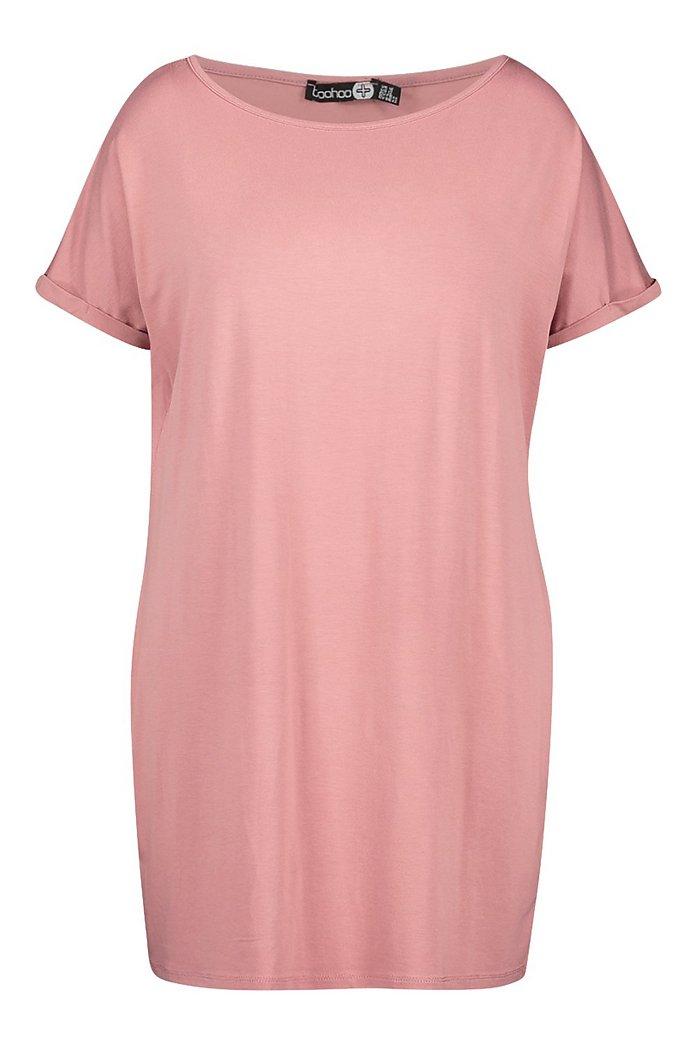 Plus White Oversized Roll Sleeve T Shirt Dress