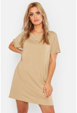 Stone Plus Oversized Roll Sleeve T-Shirt Dress