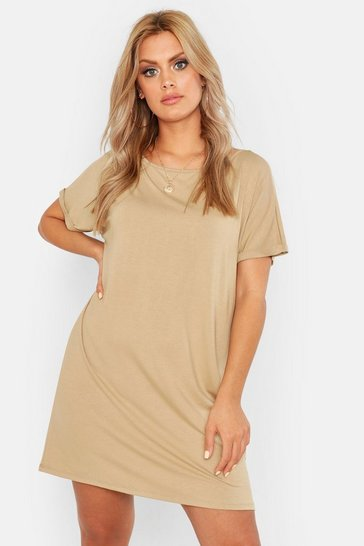 Womens Stone Plus Oversized Roll Sleeve T-Shirt Dress