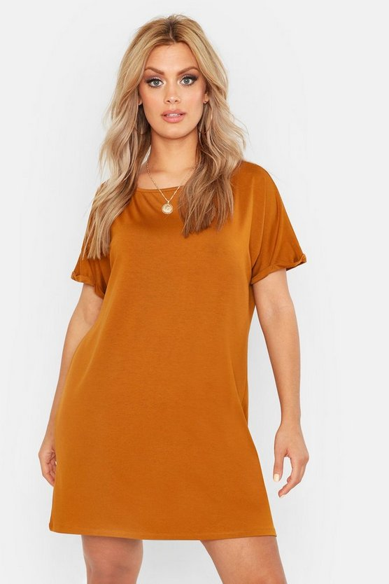 Womens Tobacco Plus Oversized Roll Sleeve T-Shirt Dress