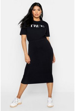 Black Plus Midi Tube Skirt