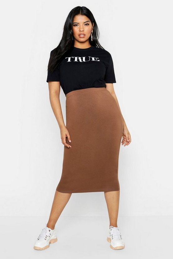 Womens Chocolate Plus Midi Tube Skirt