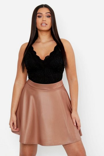 Womens Chocolate Plus PU Skater Skirt