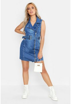 Plus Sleeveless Belted Bodycon Denim Dress, Mid blue