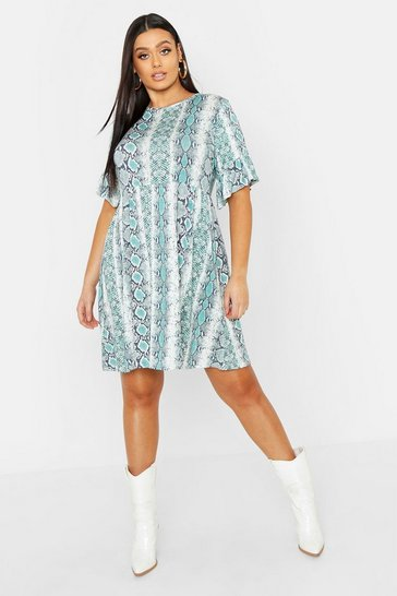 Womens Green Plus Snake Ruffle Sleeve Smock Dress
