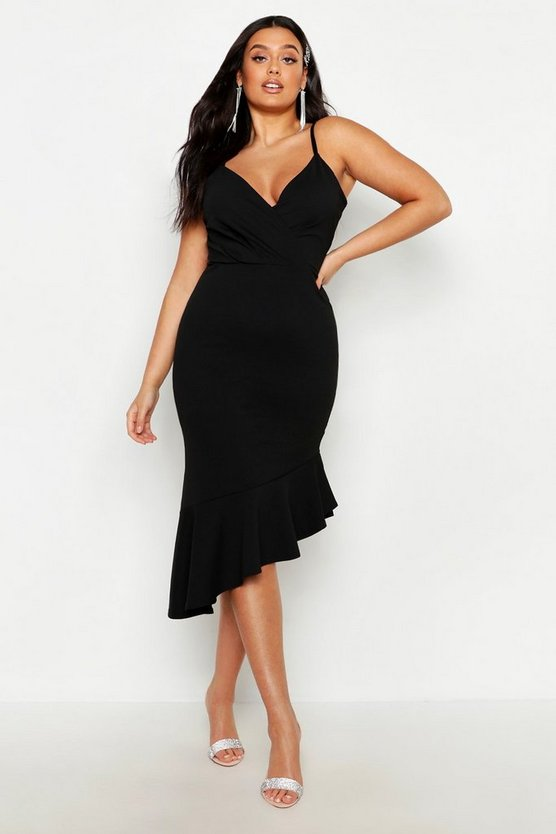 Womens Black Plus Rib Ruffle Wrap Detail Midi Dress