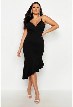 Black Plus Rib Ruffle Wrap Detail Midi Dress