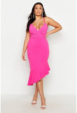 Womens Hot pink Plus Rib Ruffle Wrap Detail Midi Dress