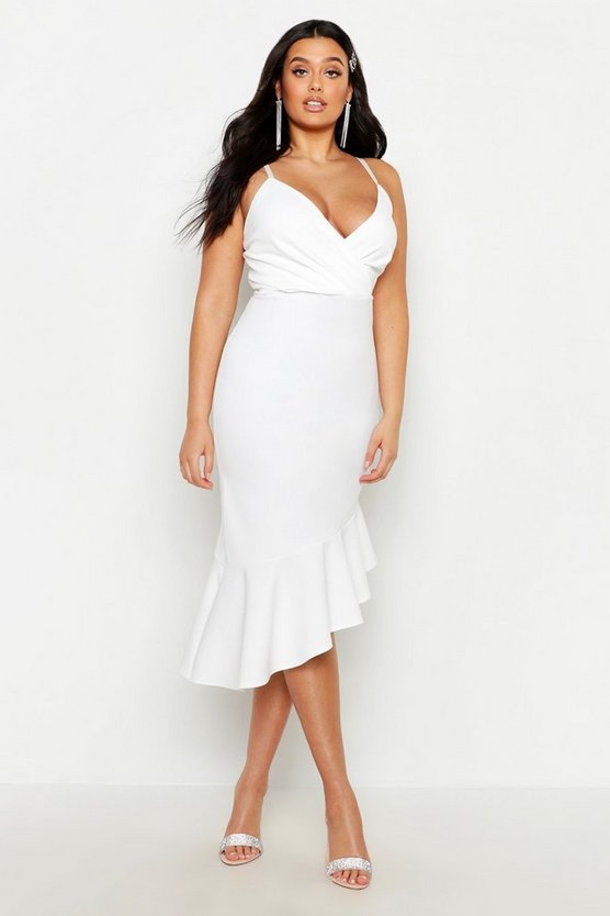 White Plus Rib Ruffle Wrap Detail Midi Dress