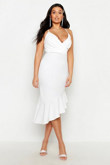 Womens White Plus Rib Ruffle Wrap Detail Midi Dress