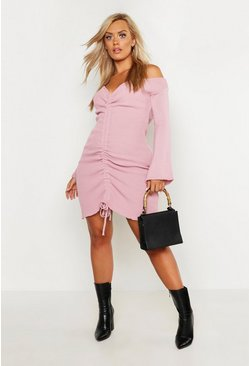 Blush Plus Ruched Bardot Knitted Dress