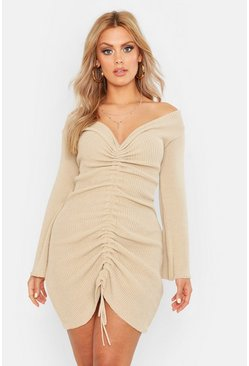 Womens Stone Plus Ruched Bardot Knitted Dress