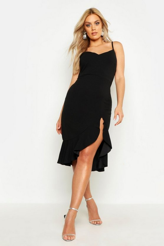 Black Plus Strappy Frill Hem Midi Dress