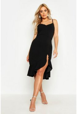 Womens Black Plus Strappy Frill Hem Midi Dress