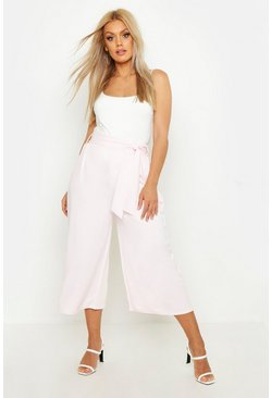 Baby pink Plus Self Belt Structured Culotte Trouser