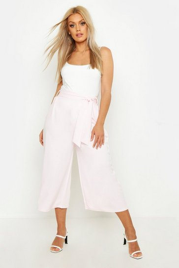 Womens Baby pink Plus Self Belt Structured Culotte Trouser
